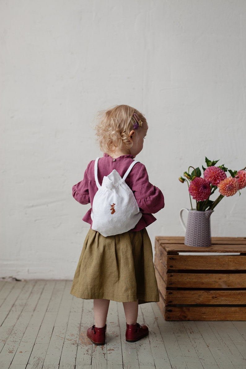 Rabbit Embroidery Baby Bag Hand Embroidery Linen Backpack Kids Backpack Backpacks for Girls Ready to Ship Hand Embroidery