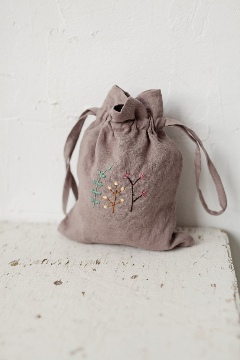 Linen Pouch Bag Hand Embroidery Storage Pouch Baby Bag image 0