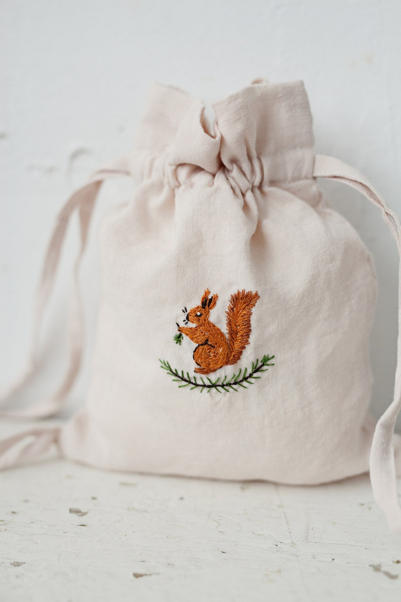 Linen Backpack Kids Backpack Hand Embroidery Backpacks for image 0