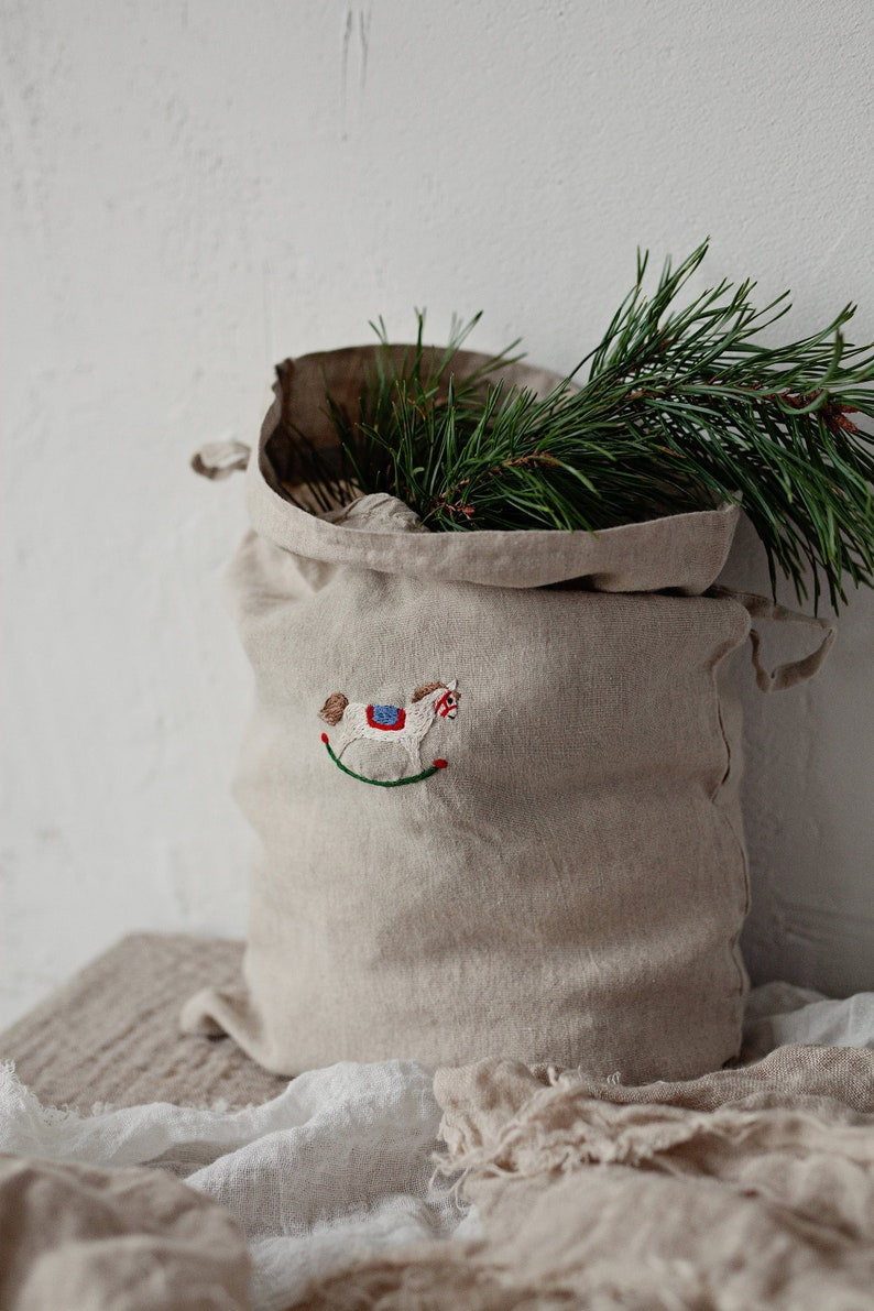 Linen Pouch Bag Laundry Bag Hand Embroidery Baby Bag image 0