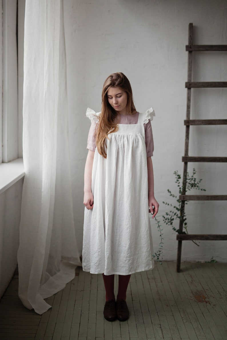 Linen Dress with Flutter Sleeve Oversized Apron White Linen image 0