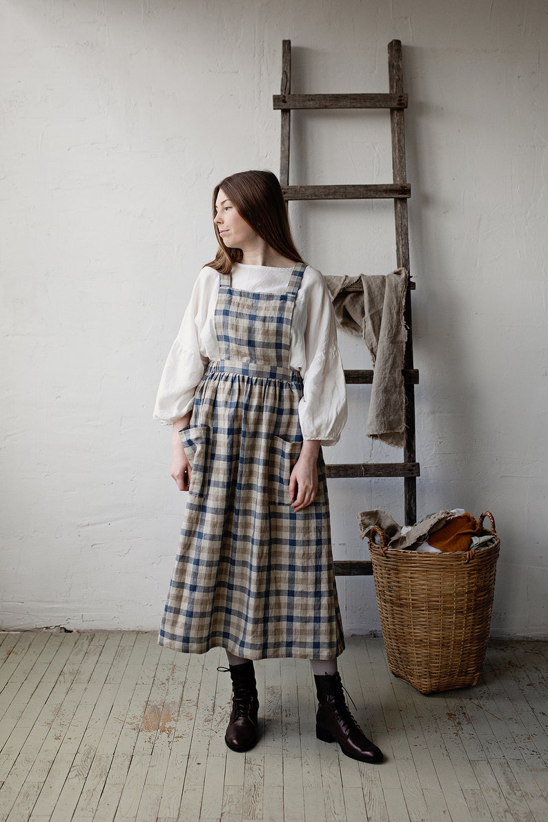 Cottagecore Dresses Aesthetic, Granny, Vintage Linen Pinafore Dress Elastic Waist Dress Plaid Linen Pinafore Linen Dress Victorian Apron Sleeveless Dress $142.40 AT vintagedancer.com