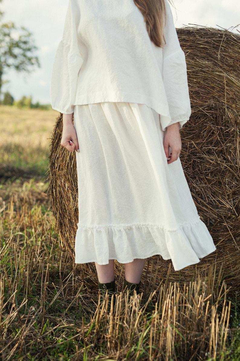 White Linen Petticoat White Linen Skirt Linen Underskirt image 0