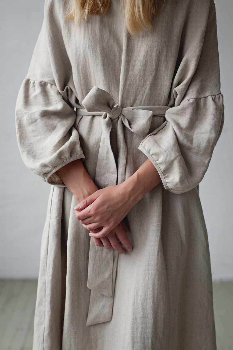 Oversized Linen Dress Kimono Style Dress Natural Linen image 0