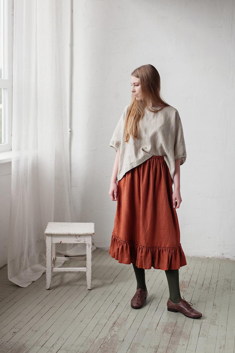 Linen Skirt Linen Underskirt Victorian Style Skirt image 0