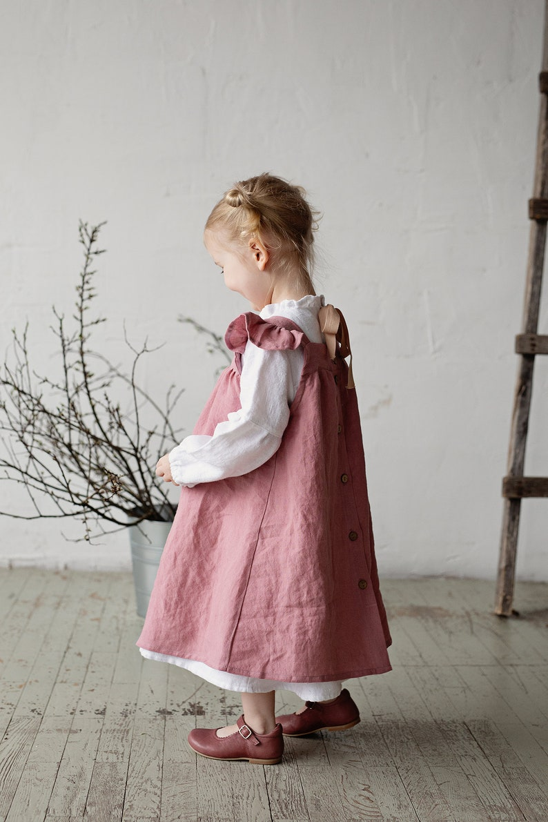 Vintage Style Children's Clothing: Girls, Boys, Baby, Toddler Linen Baby Dress Dusty Rose Dress Linen Pinafore Dress Pinafore Girls Baby Apron Flower Girl Dress Linen Pinafore Dress Girls $61.87 AT vintagedancer.com