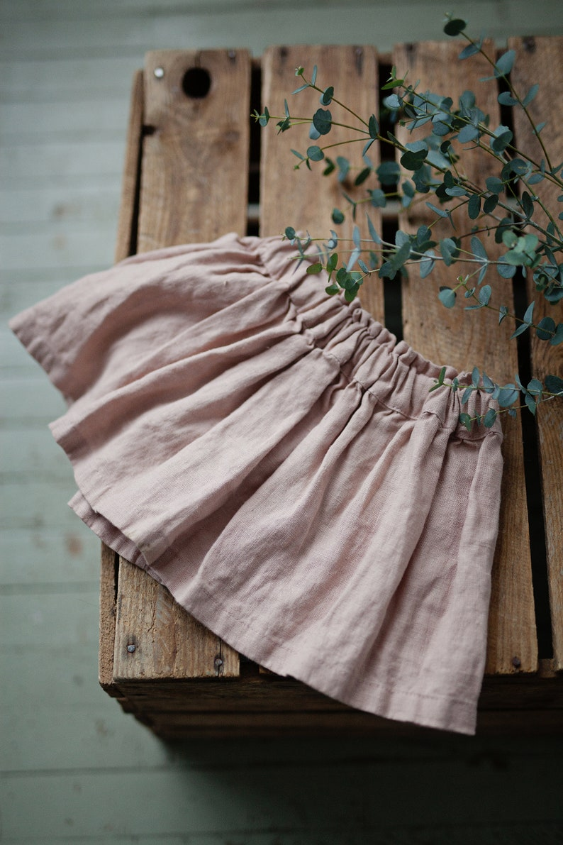 Pink Linen Skirt Linen Skirt for Girls Simple Skirt Baby image 0