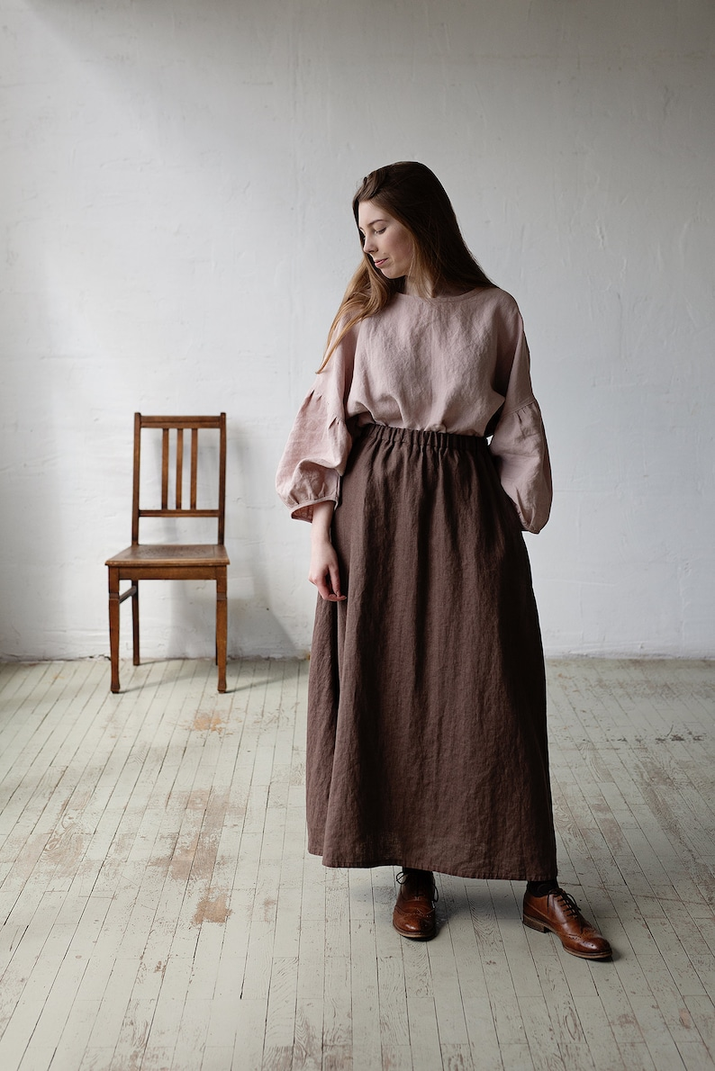 Victorian Clothing, Costumes & 1800s Fashion Brown Linen Skirt Long Linen Skirt Linen Skirt with Pockets Victorian Style Skirt Edwardian Style Skirt Linen Maxi Skirt Long Skirt $132.99 AT vintagedancer.com