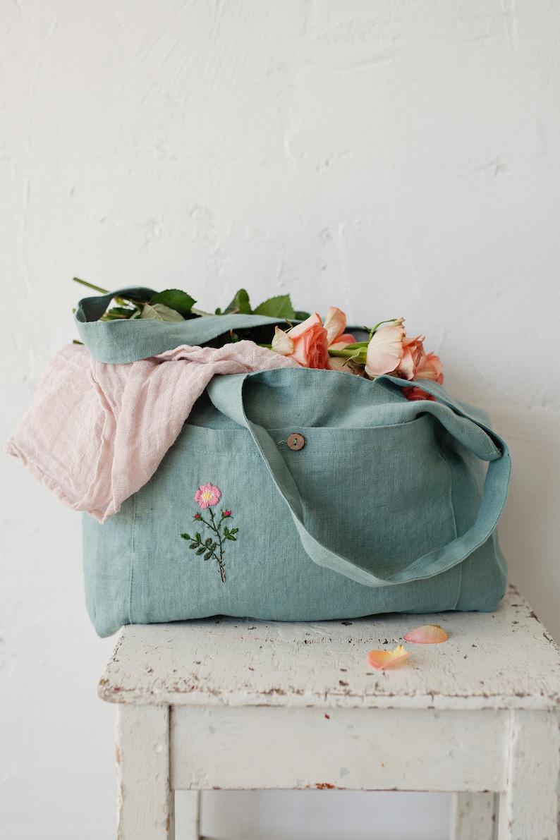Linen Bag Linen Tote Bag Rose Embroidery Green Linen Bag image 0