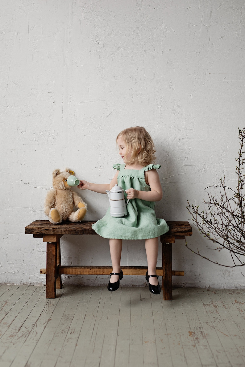 Victorian Kids Costumes & Shoes- Girls, Boys, Baby, Toddler Linen Baby Dress Light Green Dress Linen Pinafore Dress Pinafore Girls Baby Apron Flower Girl Dress Linen Pinafore Dress Girls $61.87 AT vintagedancer.com