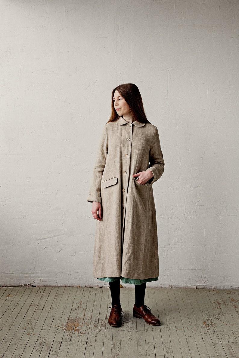 Vintage Coats & Jackets | Retro Coats and Jackets Classic Linen Coat Natural Linen Coat A Line Linen Coat Linen Coat Women Long Coat for Women Autumn Linen Coat Washed Linen Coat $340.20 AT vintagedancer.com