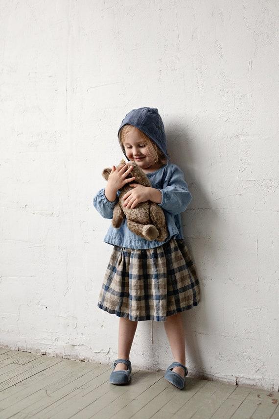 Baby Girl Skirt Washed Linen Skirt Linen Kids Clothing Midi Linen Skirt Plaid Linen Skirt Linen Clothes Kids Simple Linen Skirt