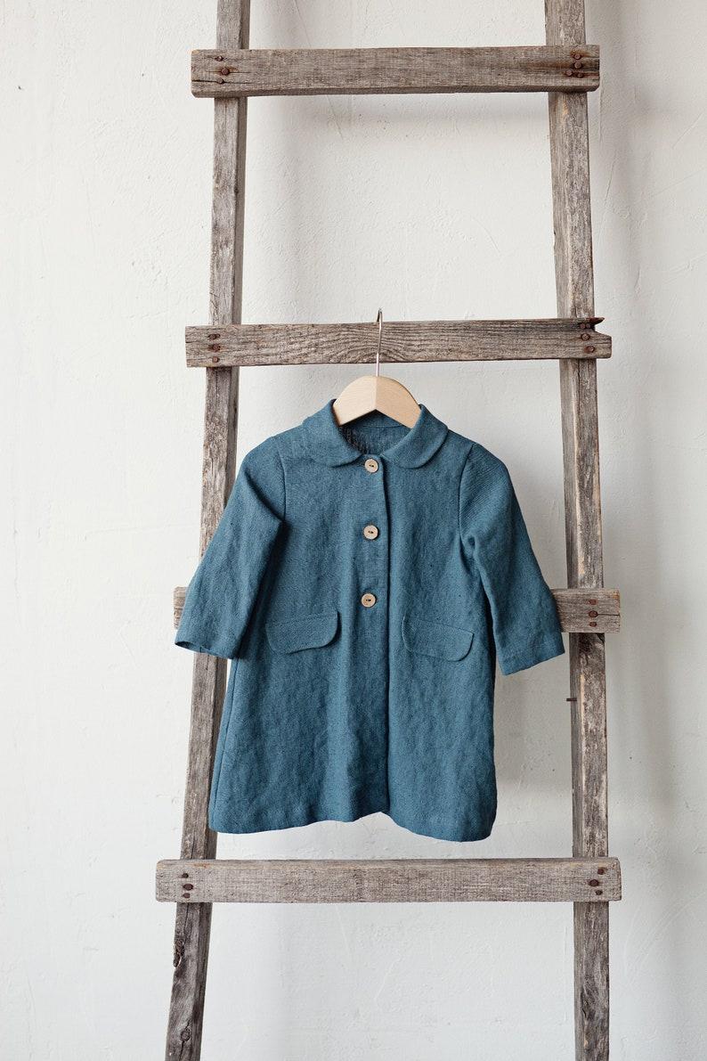 Linen Coat Kids Blue Linen Coat Classic Coat for Kids Baby image 0