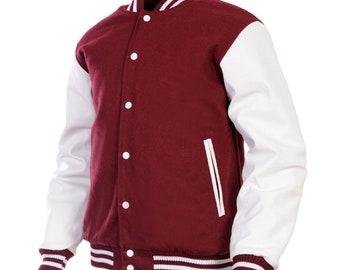 Laine personnalisée en cuir véritable Varsity Letterman Bomber Jacket marron  manches blanc marron d4b035273dd8