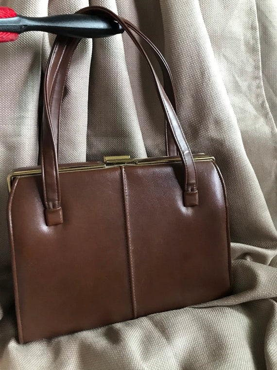 Brown vinyl vintage handbag