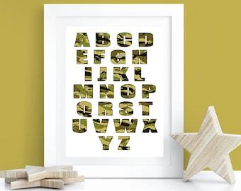 ab2b11c95ee7 Camo Alphabet Poster- Camo Wall Decor- Boys Room Wall Print 8x10 and 11x14