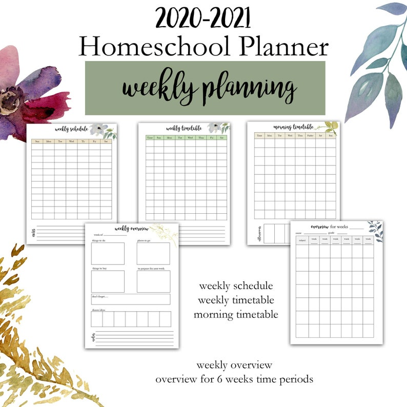 2020 2021 Editable Homeschool Planner Printable Homeschool ...