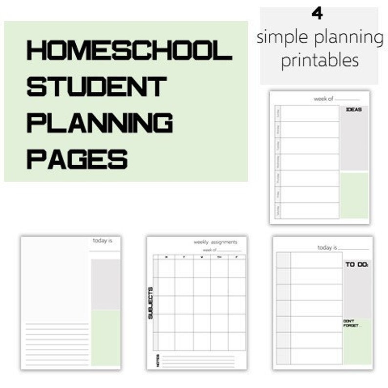 photograph relating to Student Planner Printables identified as Weekly and Each day Creating Web pages for College students- Homeschool Printable- Assignment Webpages