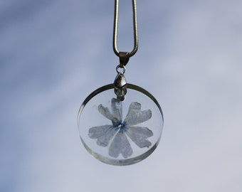 H-Customs Flower Blossom Marigold Keychain Silver Metal Pendant