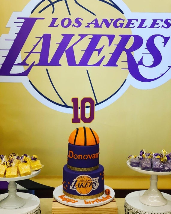 Fantastic Basketball Cake Topper Lakers Cake Topper Personalized Age Etsy Funny Birthday Cards Online Sheoxdamsfinfo