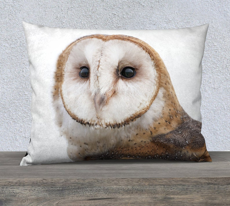 Barn Owl Throw Pillow Cotton Linen Must Love Owls Etsy