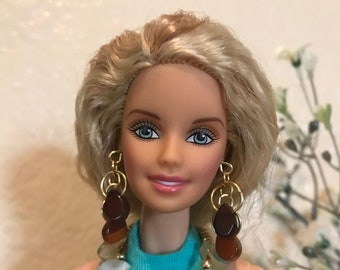 Handmade Jewelry for Barbie Green Marbled Teardrop Necklace and Earrings