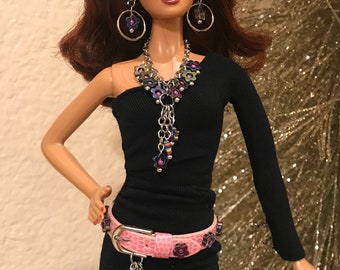 Barbie Handmade Jewelry Brown Leather Braid and Silver Buckle Belt and Earrings