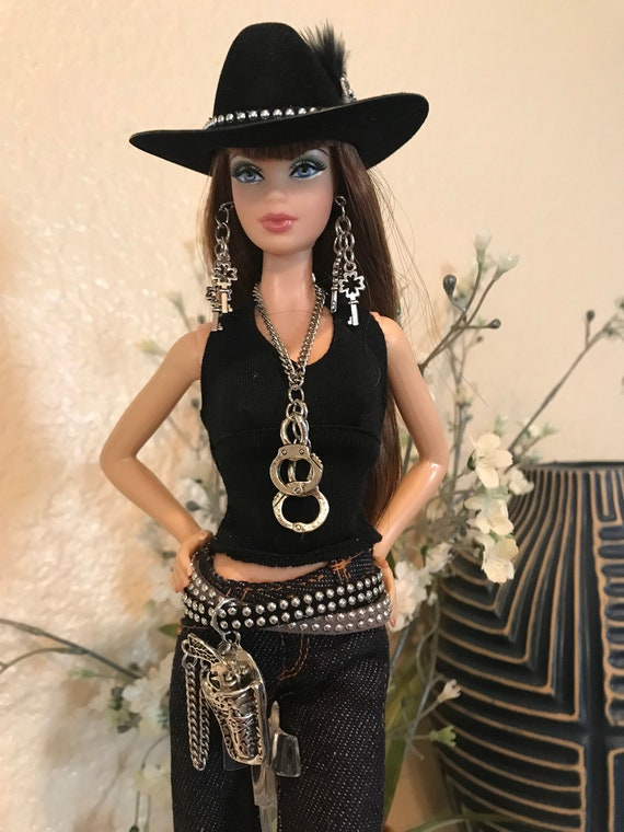 Barbie Handmade Jewelry /&  Accessories Cowgirl Hat w// Silver /& Turquoise Hatband