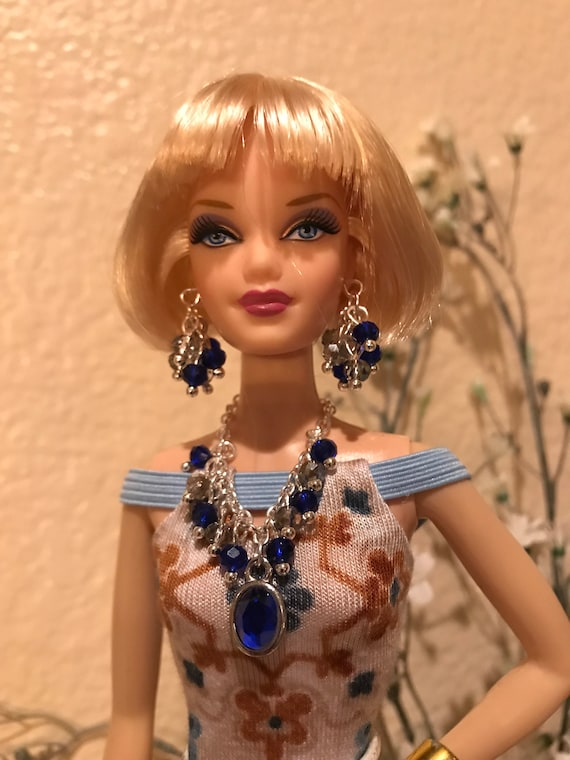 Handmade Jewelry for Barbie Simulated Birthstone Necklace And Earrings