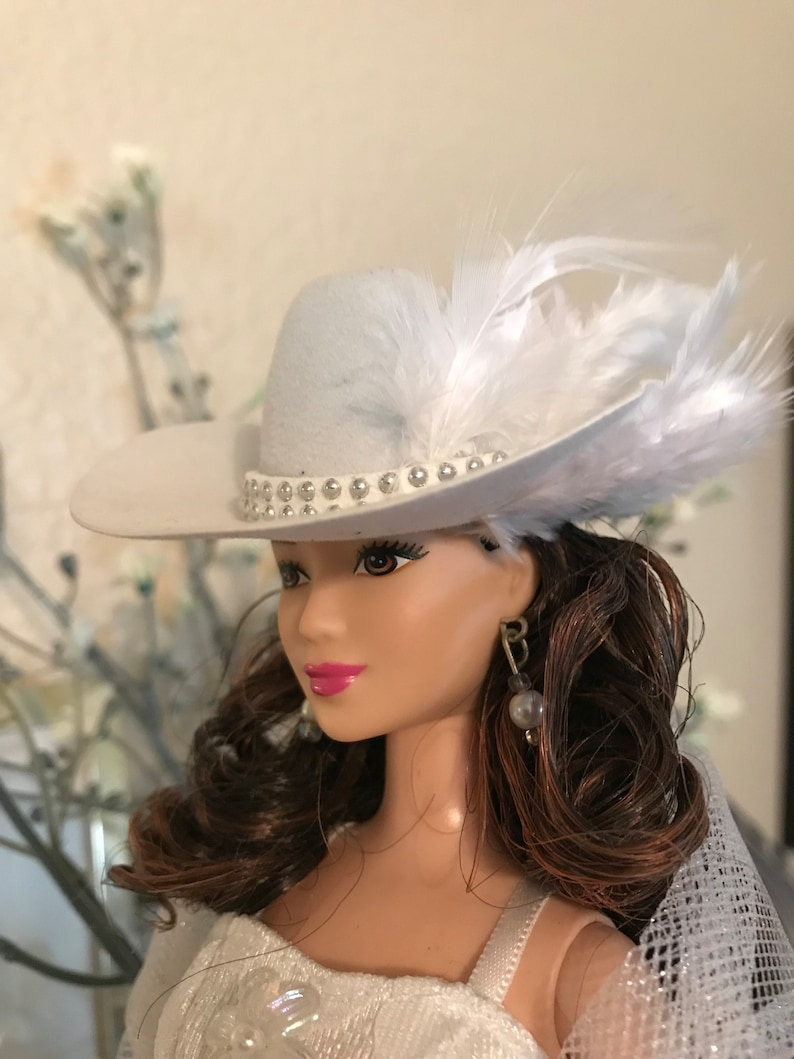 Barbie Handmade Jewelry /&  Accessories Silver and Turquoise Feather Cowgirl Hat