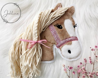Patch Horse Application Pony Lulu medium brown Patch by Johlina, Embroidery Heart Glitter Fter pink Silver aqua