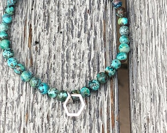 Turquoise bracelet with silver plated hexagon charm