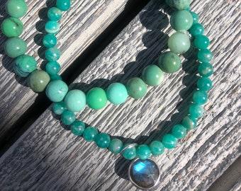 Chrysoprase & Apatite gemstone bracelet with labradorite charm. Set of two stacking bracelets