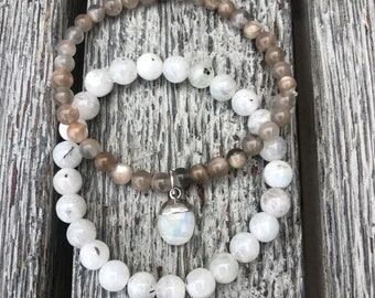 Moonstone stacking bracelets with moonstone charm