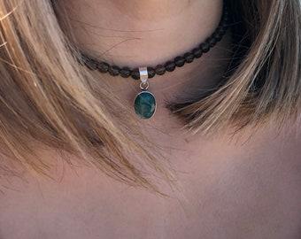 Smoky quartz choker with emerald pendant