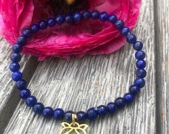 Lapis lazuli bracelet with gold plated lotus flower charm
