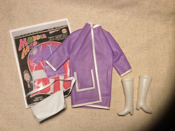 48a6285d4 Barbie Clone Maddie Mod Groovy Fashions Slick Chick Purple Raincoat, Boots  & Purse 1960s