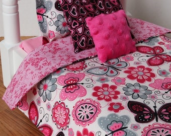 Butterfly and Flower Reversible Doll Bedding Set, Pink and Black, 4 piece bedding set fits American Girl dolls, 18 inch doll bedding