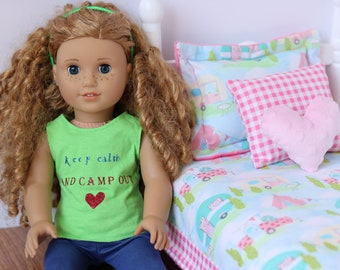 Happy Campers Doll Bedding Set, 4 piece bedding set for American Girl dolls and other 18 inch dolls, Campers, Camping, Pink and Blue