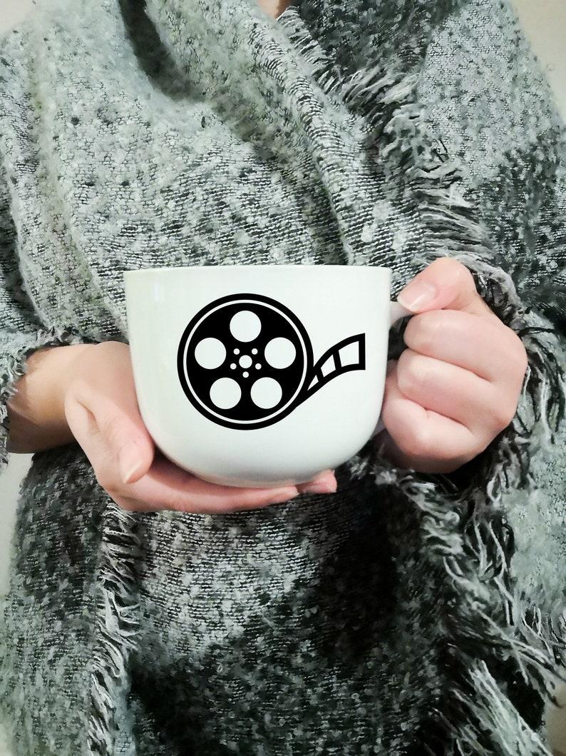 Vinyl decal for coffee mug with film reel, Cup customization, sticker,  original decoration