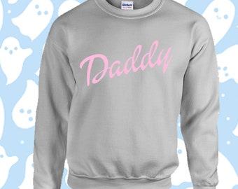 133a7547 Daddy sugar baby script doll pink Jumper Sweater Sweatshirt / Harajuku Emo  Kawaii Hand Printed Custom Kpop Festival 90s rave Punk Hipster