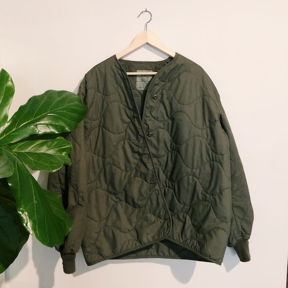 Vintage Army Quilted Military Liner Coat - Camoufl