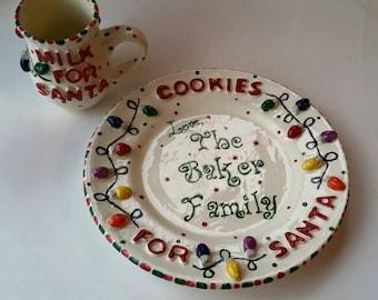 "Santa Christmas Plate ~ Santa Chef with Gingerbread Cookies 8/"" Salad plate"
