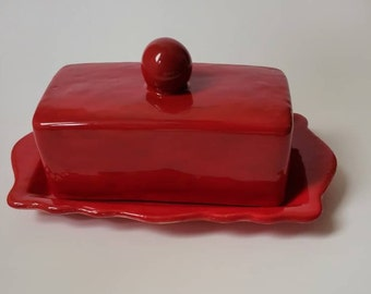 Red Butter Dish, Ceramic Butter Dish,