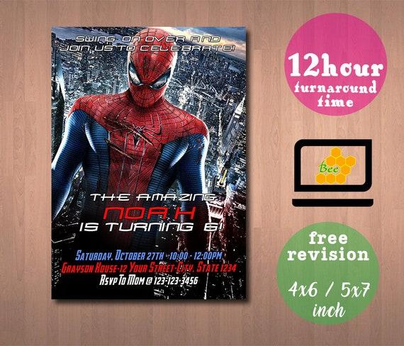 Spiderman Spiderman Invitation Spiderman Party Spiderman Etsy