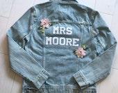 Mrs Denim Jacket Custom Bride Personalized Bridal Wedding Distressed Patches Gift Flowers Garden Blush Pearls