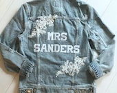 Mrs Denim Jacket Custom Personalized Jean Bride Bridal Shower Wedding Gift Lace Distressed Patches Wife Mrs