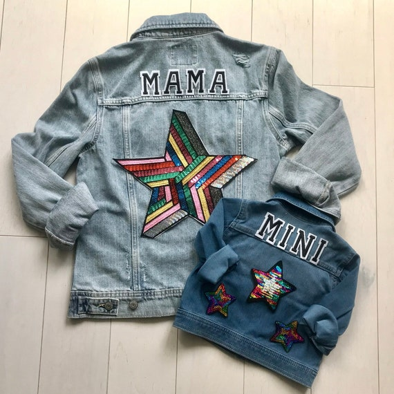 limpid in sight shop for cozy fresh Mama and Baby Denim Jackets   Mama and Mini   Mother Daughter   Jean Jacket    Custom   Personalized   New Baby   Baby Shower   Gift   Stars
