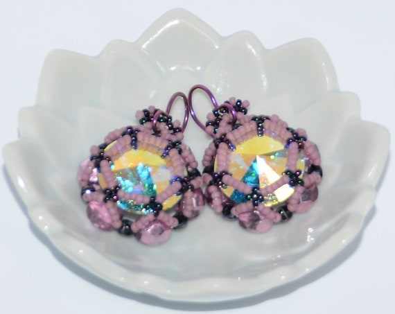 Sparkly Hand Beaded 16mm Swarovski Rivoli and Fire-Polished Earrings - Crystal AB/Pink Mirror