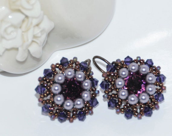 Sparkly Hand Beaded Swarovski Earrings - Amethyst